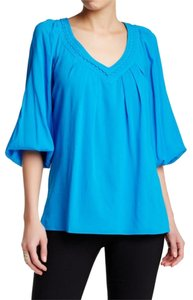 Diane von Furstenberg Stretched Silk Tunic V Neck Embellished Top Bright Blue/ Blue Larimor