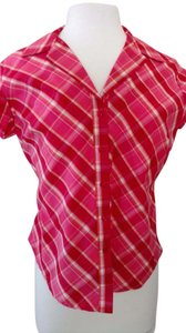 Arizona Jean Company Front Buttons Woven Stretch Cotton/nylon/spandex Cap Sleeve Top Coral, shrimp, yellow plaid