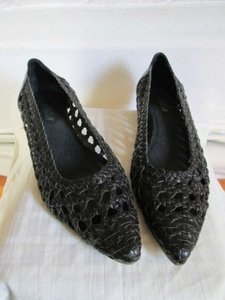Seychelles Woven Pointed Toe Leather Black Flats