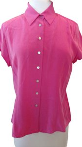 Petite Sophisticate Front Buttons 100% Silk Cap Sleeve Top Hot Pink