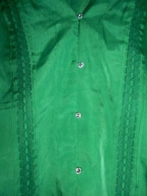 New York & Company Ny Co. Silk Shirt Button Down Shirt Emerald Green