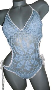 fashionista Fashionista Style sky blue monokini hand-crochet sunflower design & white crochet border