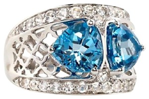 Victoria Wieck Victoria Wieck 4.72ct Swiss Blue Topaz and White Topaz Sterling Silver Ring - Size 8