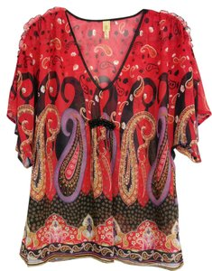 Other Sheer Flowy A-line Empire Waist Paisley Top Red, Black, Purple