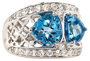 Victoria Wieck Victoria Wieck 4.72ct Swiss Blue Topaz and White Topaz Sterling Silver Ring - Size 7