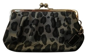 Coach Satin Leopard Evening Party Silver Wristlet in Leopard Print