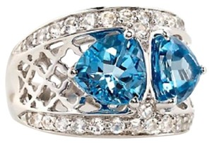 Victoria Wieck Victoria Wieck 4.72ct Swiss Blue Topaz and White Topaz Sterling Silver Ring - Size 5