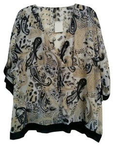 Essentials by Milano Sheer Flowy Empire Waist V-neck Paisley Top White, Black, Tan