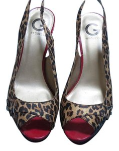 Guess By Marciano Slingback Peep Toe Cheetah Print Sandals