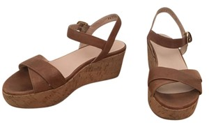 Stuart Weitzman Natural tan leather, cork platform Wedges