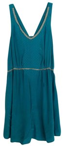 Quiksilver short dress Teal Silk Flowy Embroidered Lace Trim Date Night on Tradesy