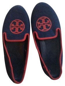 Tory Burch Navy and Red Flats