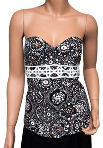 Trina Turk Strapless Bustier Geometric Top Multicolor