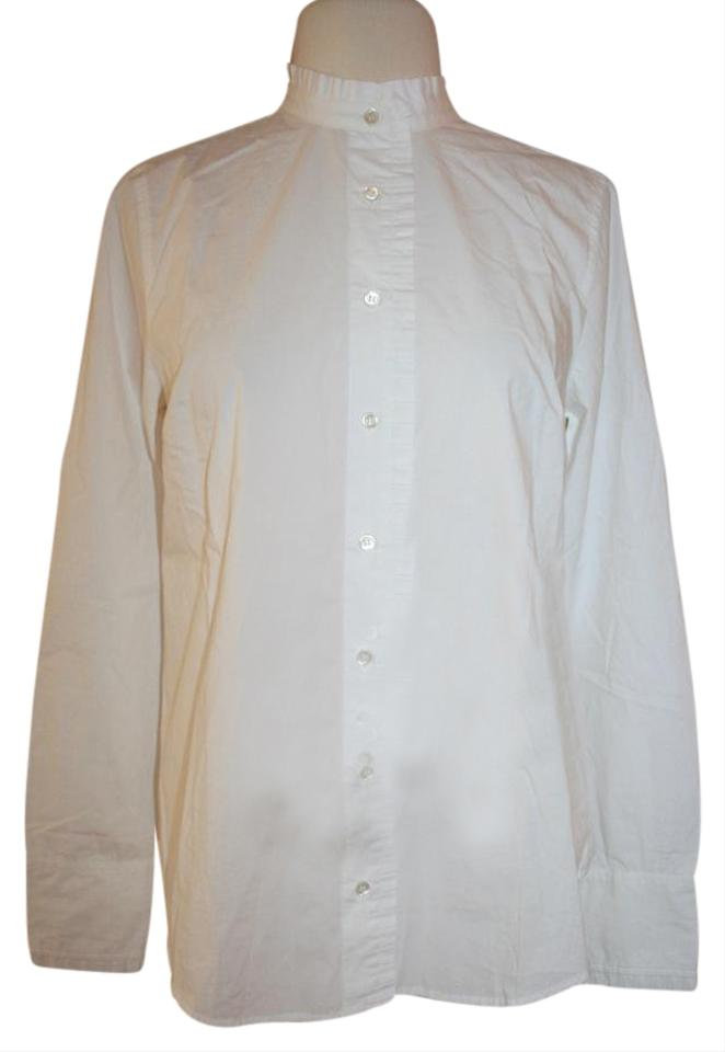 c109a2ff J.Crew White Ruffled Button-up Shirt In Button-down Top Size 8 (M ...