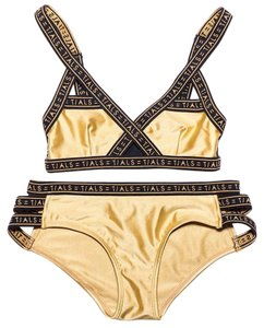 Acacia swimwear Strappy Gold Bikini Set