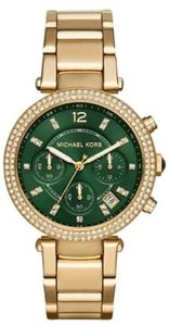 Michael Kors Womens Michael Kors Mk6263 Parker Gold Chronograph Green Dial Watch