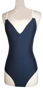 J.Crew J.CREW BRAIDED ROPE V-NECK ONE-PIECE SWIMSUIT SIZE 4 NAVY NATURAL