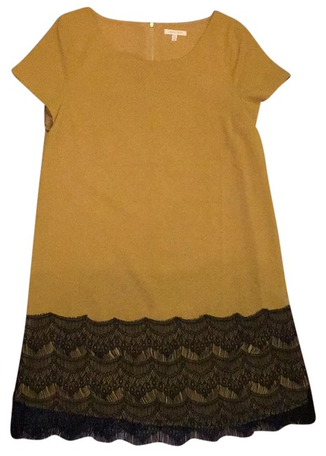 Item - Mustard Yellow and Black Shift Above Knee Work/Office Dress Size 6 (S)