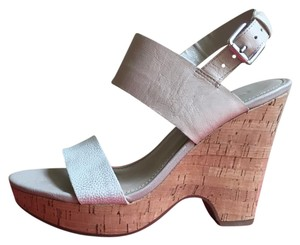 Franco Sarto Light whitish silver and tan Wedges