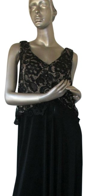 Item - Black with Lace Special Occasion Long Formal Dress Size 14 (L)