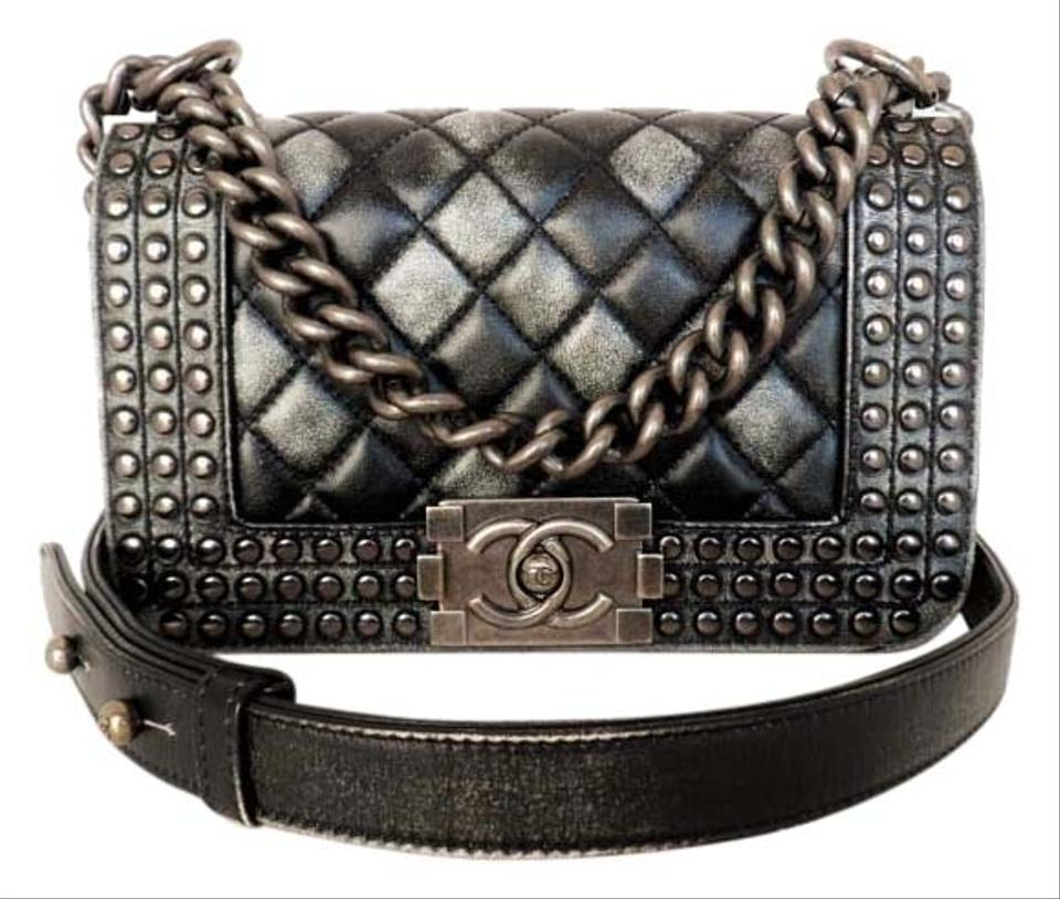 3678869e4335 Chanel Boy Studs Paris Dallas Studded Flap Small Shoulder Black Gray ...