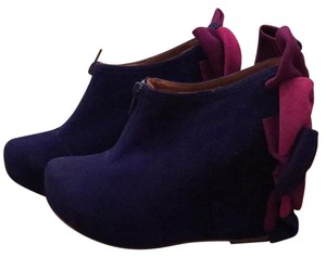 Jeffrey Campbell Blue with purple and rasberry bows Wedges