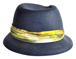 Eugenia Kim Eugenia Kim Navy Fedora With Silk Band Detail