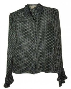 MICHAEL Michael Kors Button Down Shirt Black and Tan print