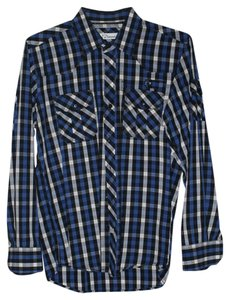 7 Diamonds Mens Mens Dress Shirt Button Down Shirt Blue