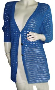 DKNY DKNY cobalt blue bikini cover, swimsuit cover, crochet cardigan