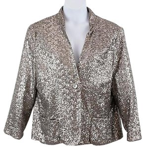 Chico's Taupe Sequin Single Button B126 Jacket