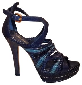 Prada Leather Braided Multi Strap Ankle Strap Blue Platforms