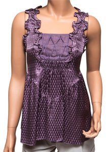 Development Silk Square Neck Scalloped Top Purple