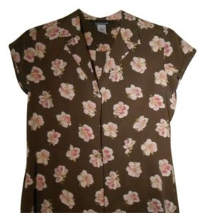 Jones New York Button Down Shirt Brown floral print