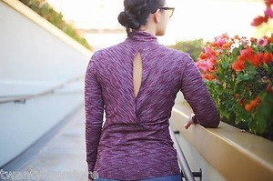 Lululemon Lululemon Go Take Off Ls Long Sleeve Open Back Heathered Bordeaux Drama