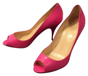 Christian Louboutin Yoyo Peeptoe 100mm Hot Pink (Rose) Pumps
