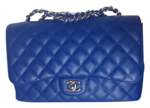 Chanel Blue Jumbo Caviar Cross Body Bag