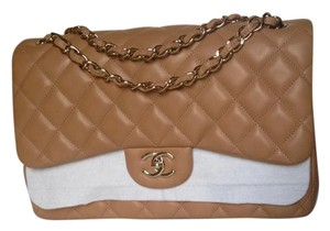 Chanel Jumbo Lamskin Beige Flap Classic Shoulder Bag