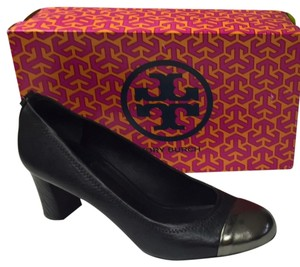 Tory Burch Metallic Classic Black with Silver Cap Toe Pumps