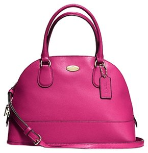 Coach Cora Cranberry Domed Leather Pink Satchel in Cranberry Pink