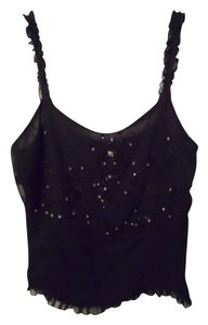 WD.NY Rhinestone Beaded Sequin Top Black