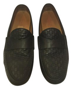 Gucci Monogram Leather Black Flats