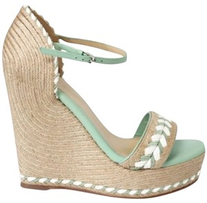 Gucci 370496 Tiffany Espadrille Wedge green Platforms