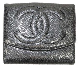 Chanel Auth Chanel Black CC Caviar Leather Bi-fold Snap Coin Purse Wallet