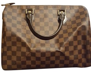 Louis Vuitton Monogram Damier Canvas Leather Neverfull Speedy Satchel in Damier Ebene