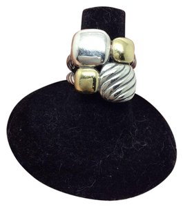 David Yurman size 6.5, sterling silver, 18k yellow gold, Chiclet statement Ring