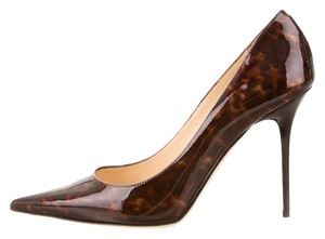 Jimmy Choo Patent Tortoise Abel Brown Pumps
