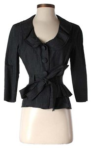 Robert Rodriguez Ruffle Belted Black Jacket