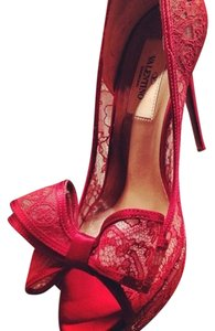 Valentino Bow Lace Satin Sheer Peep Toe Red Pumps