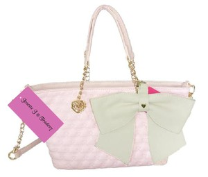 Betsey Johnson Cross Body Mini Bow Tote in blush/bone